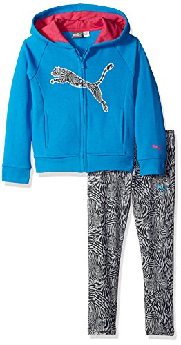 PUMA Little Girls' 2 Piece Zip up Hoodie and Pant Set, Sk...