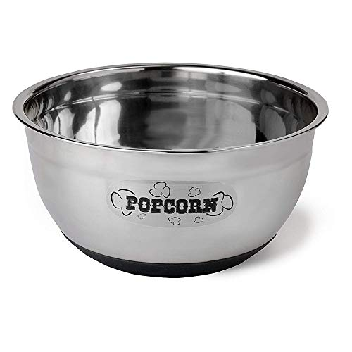 Wabash Valley Farms Stainless Steel Popcorn Bowl Perfect for Movie Nights, Parties and More and More, 8 Quarts, Silver
