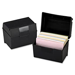 Oxford : Plastic Index Card Flip Top File Box Holds 500 5 x 8 Cards, Matte Black -:- Sold as 2 Packs of - 1 - / - Total of 2 Each