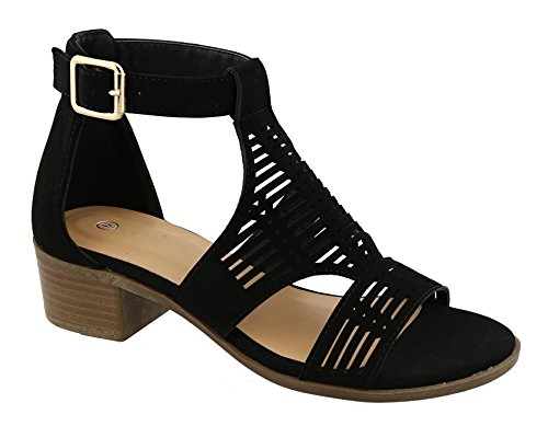 Top Selling Black Faux Leather Strappy Small Heel Caged Open Toe Flat Low Heel Sexy Cool Pretty Breathable Bohemia Sandalias Planas de Vestir Sandal Shoe On Sale for Women Teen (Pretty Teenagers)
