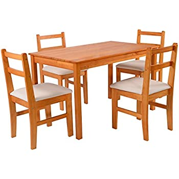 Giantex 5 Pcs Pine Wood Dining Set Table And 4 Upholstered Chair Breakfast  Furniture (Wood