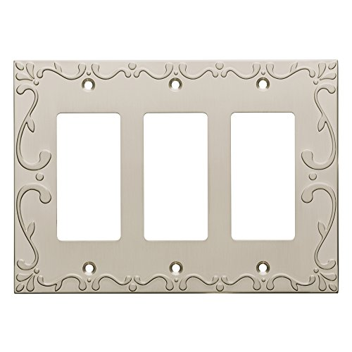 Franklin Brass W35079-SN-C Classic Lace Triple Decorator Wall Plate/Switch Plate/Cover, Satin Nickel ()