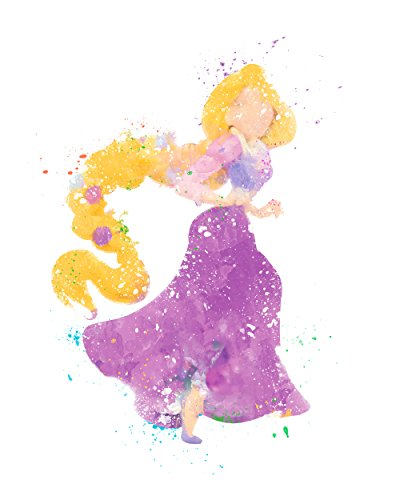 [Rapunzel Tangled Disney Princess Watercolor Photo Prints - Unique Kids Wall Art 8x10] (Tangled Costume Ideas)