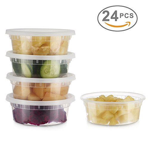 Glotoch 24 Pack Durable Plastic Microwaveable Reusable Clear Takeout Travel Deli Food Storage Containers with Lids, Dishwasher and Freezer Safe, BPA Free (8oz)