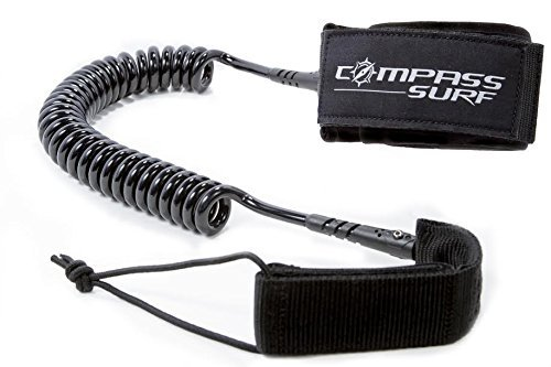 Compass Surf 10' Coiled SUP Leash - Comfortable and Durable - Swivel technology minimizes drag - Lifetime Guarantee