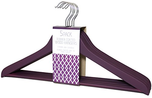 Signature Home Rubber Coated Wood Hangers with Non-Slip Pant Bar, 5 Pack, Purple by Signature Home (Image #1)