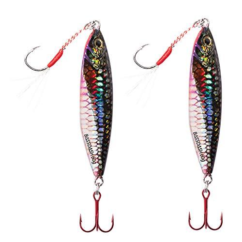 Bassdash Jig Jigging Lures Fishing with VMC Hooks Saltwater Freshwater Hooks Walleye Bass 20/30/40/60g, 2-Pack