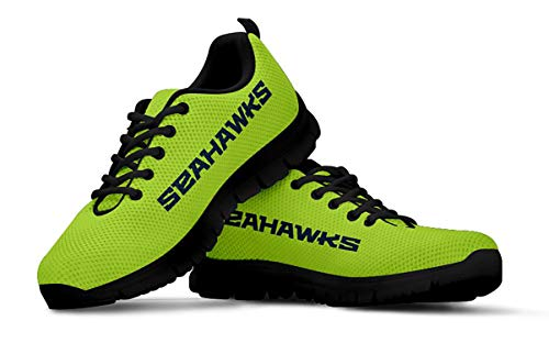 Seattle Seahawks Themed Green Casual Athletic Running Shoe Mens Womens Sizes 12th Man Football Apparel and Gifts for Men and Women (Mens, Mens US11 (EU45))