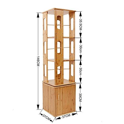 DD Mesas para lámparas Estante DE 4/5 Niveles con Puerta 360 Grados Estante Giratorio de múltiples Pisos Estante de bambú de múltiples Capas -Estante de Madera (Color : A, Tamaño : 37 * 146cm)