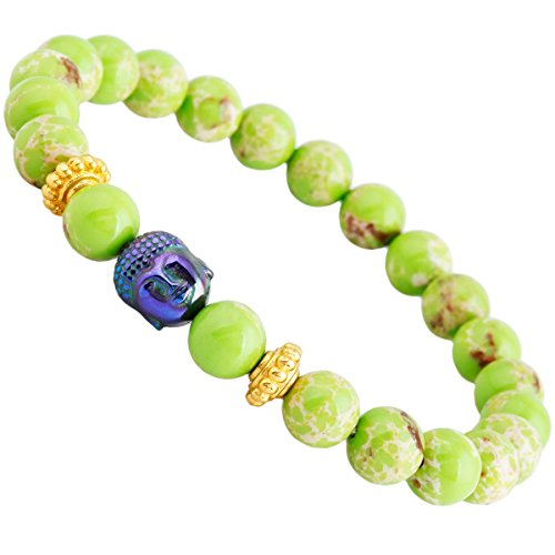 (SUNYIK Unisex Lemon Green Sea Sediment Jasper,with Rainbow Buddha Head Wristband)