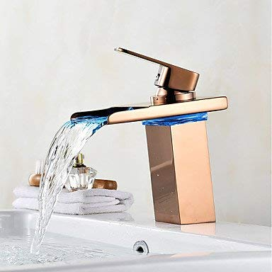 BESTHOO Mid-layer waterfall LED display red gold, basin faucet (color   -, Size   -)