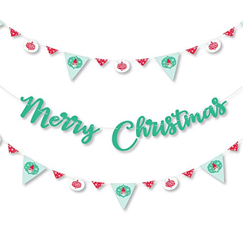 Big Dot of Happiness Elf Squad - Kids Elf Christmas Party Letter Banner Decoration - 36 Banner Cutouts and Merry Christmas Banner Letters -