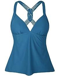 Hilor Monokinis - Bañador de una Pieza para Mujer (Cuello en V, Espalda Baja)