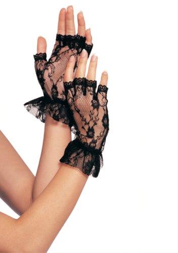 Lace Fingerless Wrist Ruffle Gloves (One Size, Black)