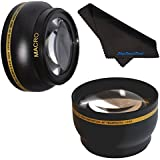 52mm HD 2.2x Telephoto & .43x Wide Angle Lens Bundle for Panasonic Lumix G Vario 14-42mm F3.5-5.6 ASPH OIS52mm Wide Angle Lens, 52mm Telephoto Lens, 52mm Lens, 52mm Lens Kit