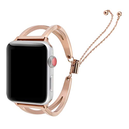 Juzzhou Bands For Apple Watch iWatch Series 1/2/3 Sport Stainless Steel Replacement Wristband Bracelet Wriststrap Watchband Wrist Strap Band With Buckle Metal Adapter Women Lady Girl Rose Gold 38mm by Juzzhou (Image #3)