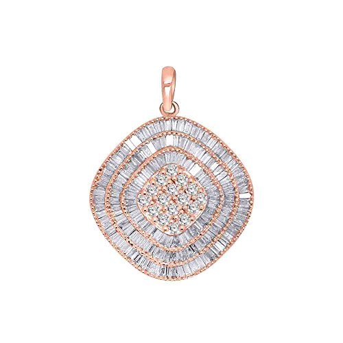 10K Rose Gold Round & Baguette Real Diamond Cluster Ring Earrings Pendant Set (3.15 TCW) (Pendant) ()