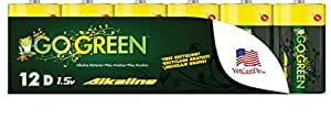 Perfpower Go Green D Alkaline Battery, 12 Count