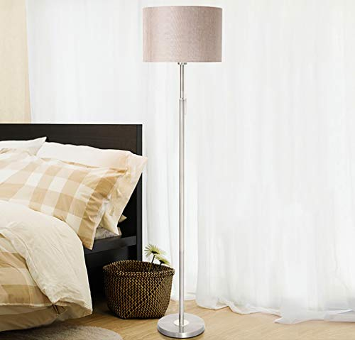 YWLDD Floor Lamps Floor lamp, Chrome-Plated Metal Base, Fabric lampshade, Pull Wire on/Off, Height 154cm (Color : Silver)