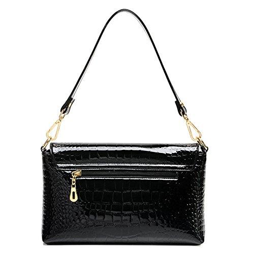 Borsa Ladies Di Modello Nera Portatile Coccodrillo Verniciata Pelle Fashion Bag Tracolla Messenger Haoxiaozi A 1xXq57w