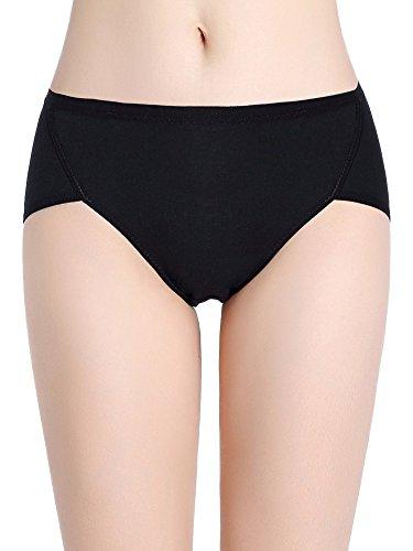 Intimate Portal Women Cotton Fresh Leak Proof Period Menstrual Panties 3-pk Black Black Beige M