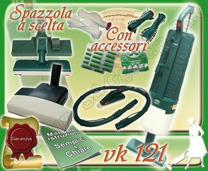 Complete Set: FOLLETTO Kobold VK121 Vacuum Cleaner Used + BATTITAPPETO + Woodpecker
