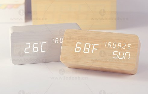 Wooden Alarm Clock Despertador Temperature Sounds Control LED Display Electronic Desktop Digital Table Watch
