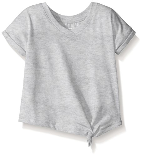 French Toast Baby Girls' Short Sleeve V-Neck Side Knot Tee, Heather Gray, 12M (Girls Top)