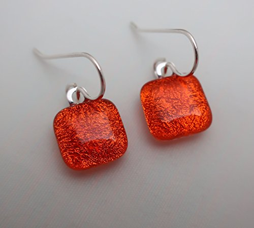 Square dangle fused translucent orange dichroic glass earrings Sterling silver 925 ear wires ()