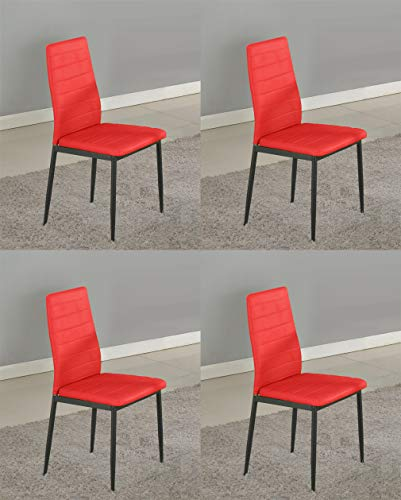 GTU Furniture Set of 4 PU Leather Dining Side Chairs with Padded Seat Foot Cap Protection Stable Frame Heavy Duty Elegant Ergonomically High Back Design for Kitchen Dining Room Home Furniture (Red)