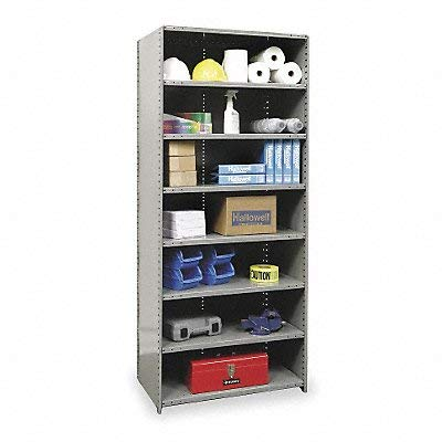Hallowell 4523-12HG Medium-Duty Closed Hi-Tech Shelving Starter Unit with 8 Shelves, Hallowell Gray Steel, 36
