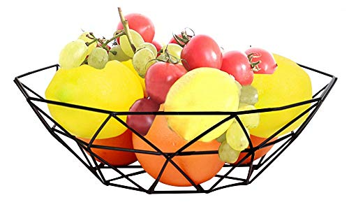 Outdoorfly Creative Fruit Dish Bowl Basket Container Centerpiece Bowl Fruit & Vegetables Storage Basket Fashion Luxury Candy Dish Dry Pots for Living Room, Kitchen, Countertop (Polygon -