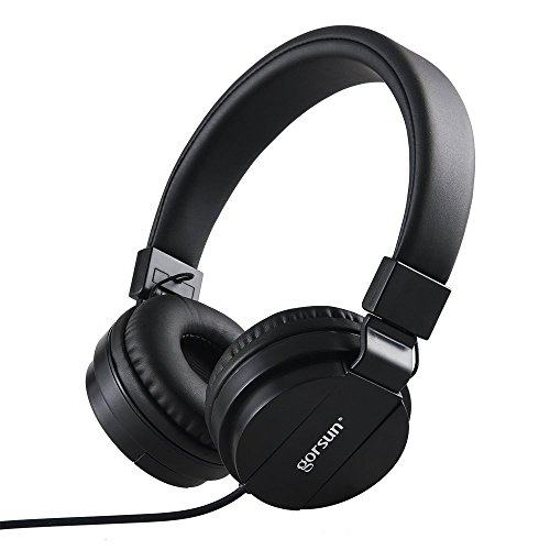 Gorsun GS-779 Stereo Lightweight Foldable Headphones, Adjustable Headband Headsets with 3.5mm Microphone, Volume Control for Cellphones, Smartphones, Laptop, PC, Mp3/4. (Black)