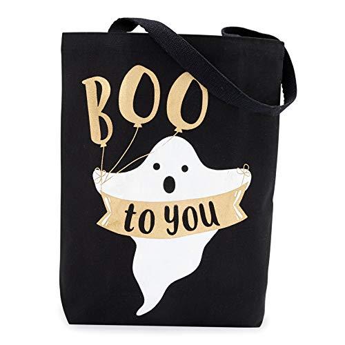 Mud Pie 4265534B Canvas Tote-Ghost Halloween Treat Bag -