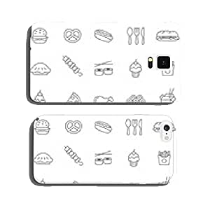 Fast food line icons set.Vector cell phone cover case Samsung S6