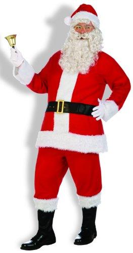 Forum Novelties Men's Santa Claus Costume Flannel Suit, Red/White, Standard - Flannel Santa Suit