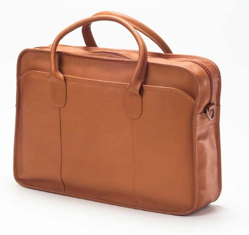 "Clava Leather Vachetta Classic Top Handle 15"" Laptop Briefcase in Tan"