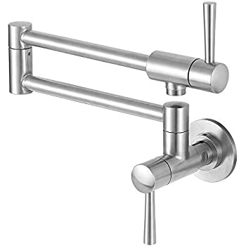 Commercial Stainless Steel Pot Filler Folding Stretchable Double Joint Swing Arm