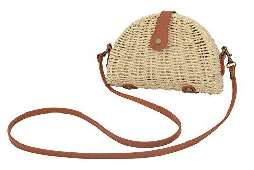 for Crossbody Beige and Agneta Purse Straw Everyday Semicircle Travel Beach Use Summer Bag Women's x0xqXawS