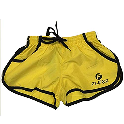 Flexz Fitness Men's Gym Shorts, Bodybuilding, Workouts & Beach, Yellow, Size X-Large (Best Looking Workout Clothes)