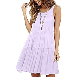 ABirdon Women's Casual Swing T Shirt Dress Summer Sleeveless Scoop Neck Ruffle Loose Plain Dress Pleated Mini Dress