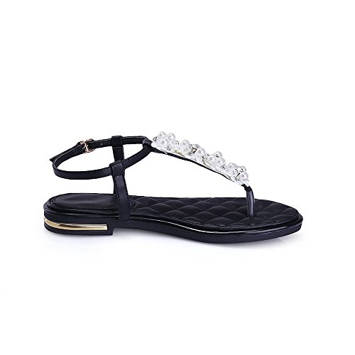 Buckle Low Solid Womens Toe Sandals heels AmoonyFashion Material Soft Black Split qAfqt