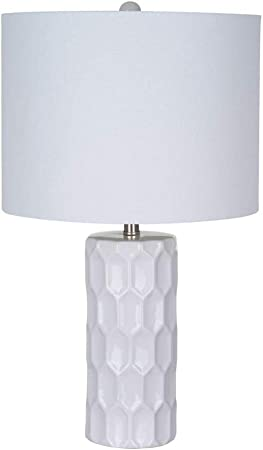 Ravenna Home Mid Century Modern White Ceramic Table Lamp With Led Light Bulb 21 Inches White Shade