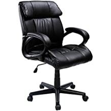"""GHP Black Leather 264Lbs Capacity 37.8""""-41.7"""" Height Adjustable Swivel Office Chair"""