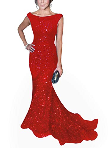 SOLOVEDRESS Women's Mermaid Sequined Formal Evening Dress for Wedding Prom Gown (US 10,Red) -