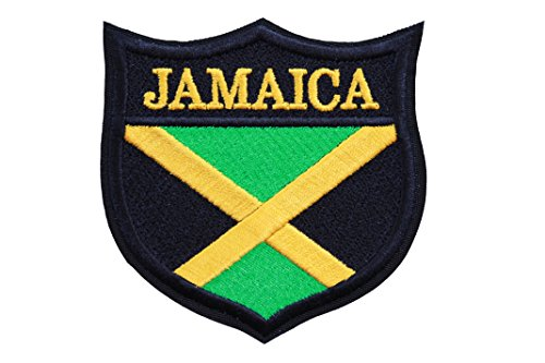 World Flags Embroidered Patch Shield Over 100 Custom Flags of Countries Across The World! Europe, Asia, Americas, Africa. Iron or Sew On. 100% Made in The USA (3.3, Jamaica)