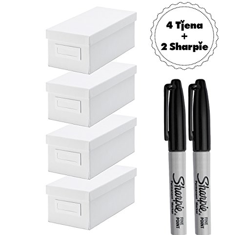 IKEA TJENA Organizing Box With Lid [WHITE][4 Pack of Boxe...