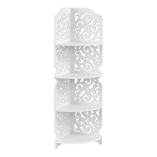 Finether 4-Tier Waterproof Shelf Unit Modern Storage Organizer Wood Plastic Composite Corner Shelf Display Free Standing Rack, for Bathroom and Living Rome, White