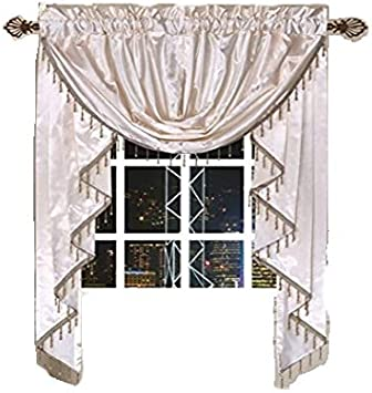 Octorose Royalty Custom Waterfall Window Valance Swags Tails For Your Window Width Less Than 45 Inch Cream Small Window Valance 66x47 Wxh Home Kitchen