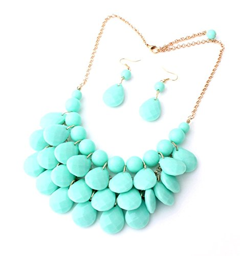 (Floral Fall Teardrop Layered Bubble Statement Necklace and Earring Set (Sky Blue))